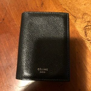 Celine Leather Card Holder Wallet 1x Fold